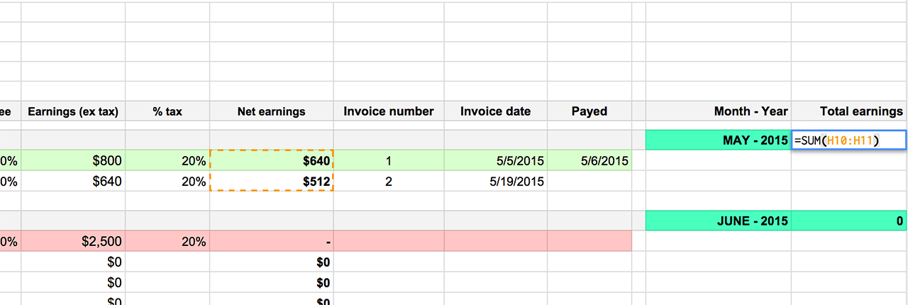 Spreadsheet to track Assingments, Invoice and Earning - Keep track of your earnings