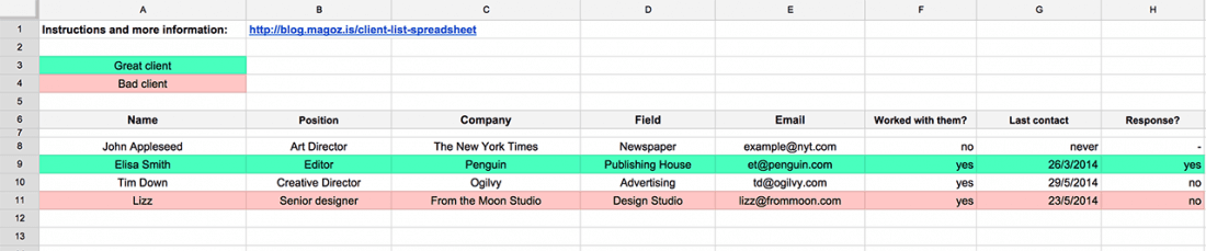 build and track a powerful client list with this spreadsheet