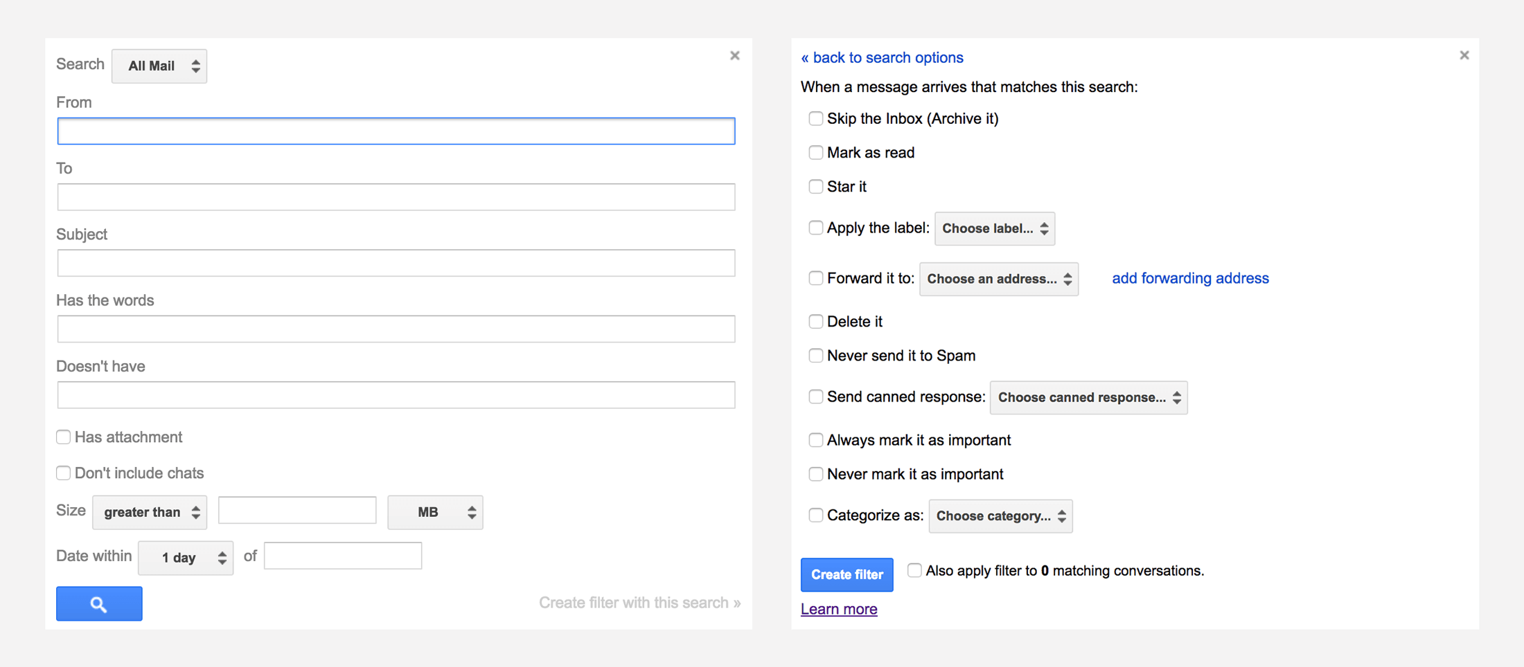 Gmail filters. Automate email with search operators